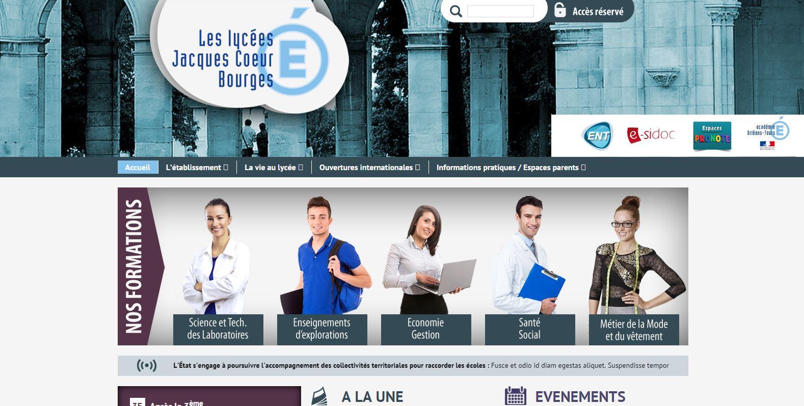 Lycées Jacques Coeur - Lycée général et technologique - Bourges - OFF LINE : PROJET EN COURS