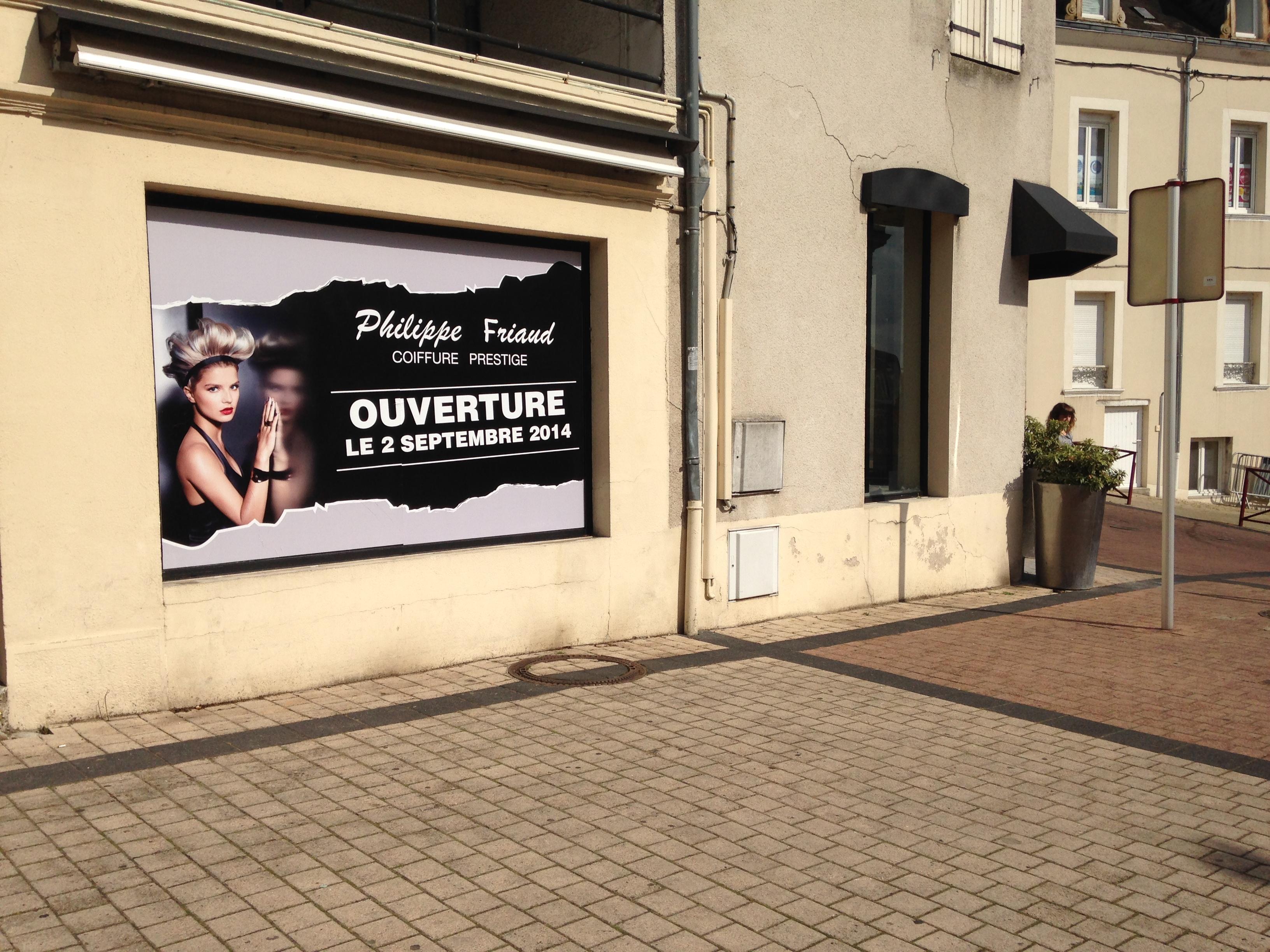 teasing pendant travaux salon de coiffure Philippe Friaud Prestige Vierzon