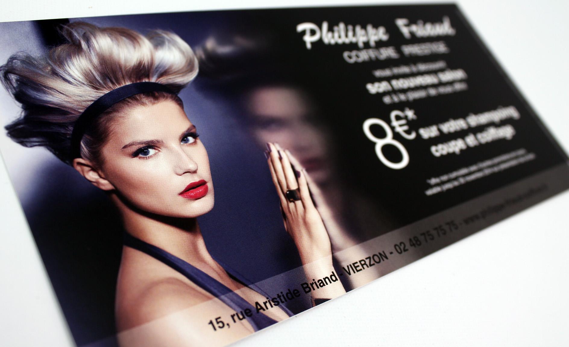 flyer ouverture nouveau salon 350gr/m² Philippe Friaud Coiffure Prestige