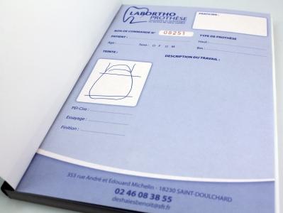 carnet auto-copiant numéroté Labortho Prothèse