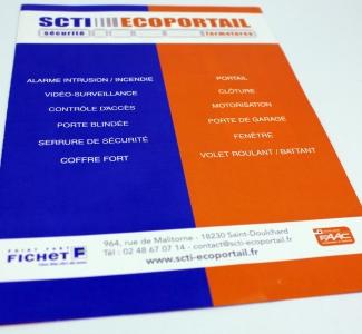 plaquette entreprise déclinée en A4 fermé et A5 fermé SCTI Ecoportail Saint Doulchard