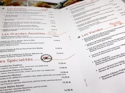 Carte de retaurant La taverne de Maître Kanter Bourges