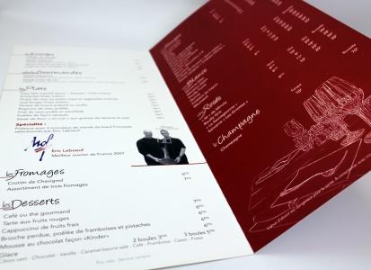 Carte de restaurant Chez Jacques Bourges