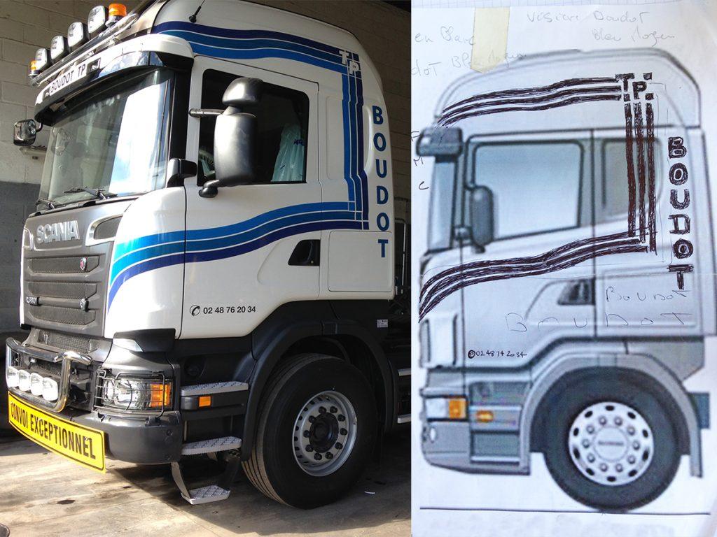 Conception et pose d'adhésif pour l'habillage d'un camion remorque