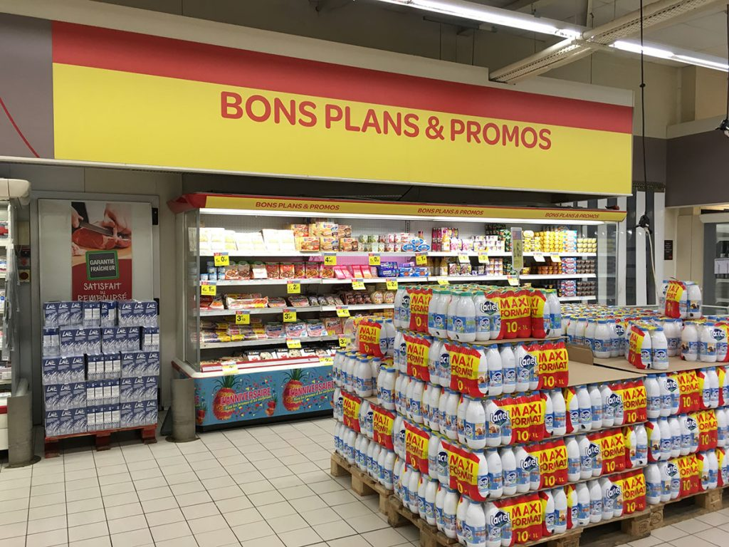 Création et installation de signalétique intérieure de magasin, Carrefour Market