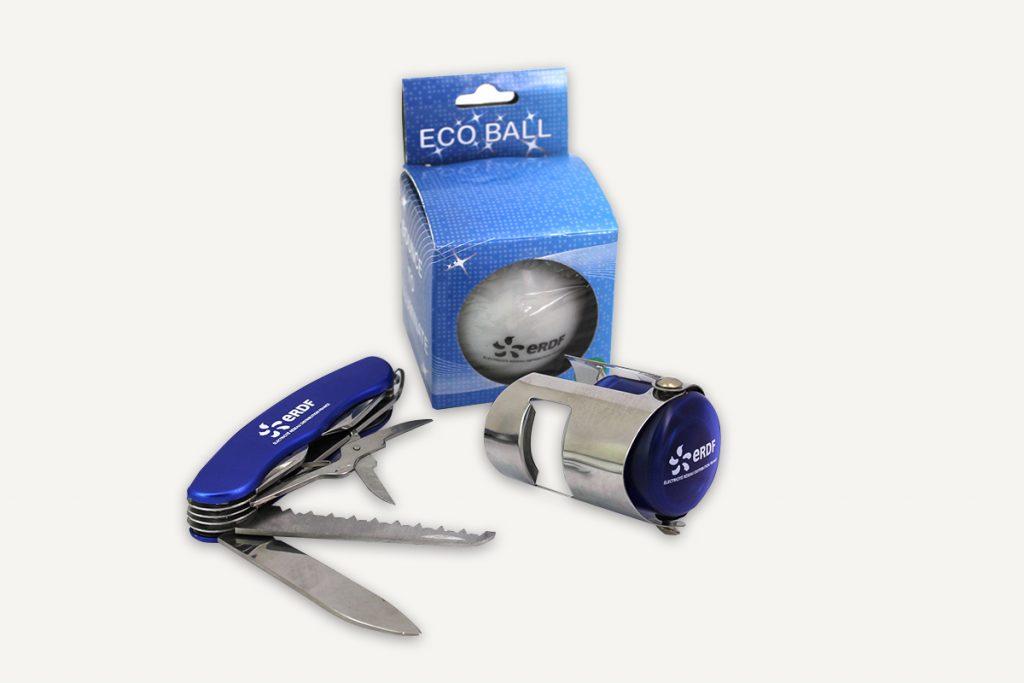 Faites la promotion de votre entreprise par l'objet publicitaire, balle lumineuse, couteau suisse et bouchon de champagne personnalisés